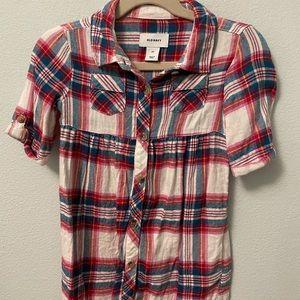 Old Navy Flannel Plaid Shirt Dress